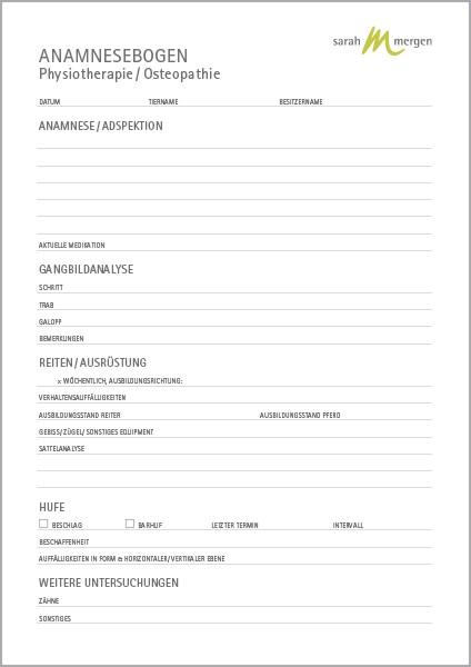 Anamnesebogen-Block Manualtherapie Pferd